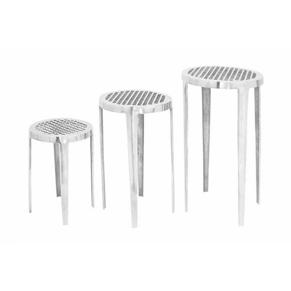 Modern aluminium Pedestal Set (Set of 3)