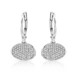 14k White Gold Diamond Accent Pave Leverback Earring (G-H, SI1-SI2)