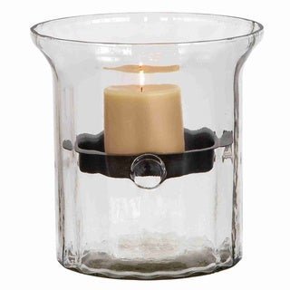 Glass Metal Candle Holder Clear Glass Case