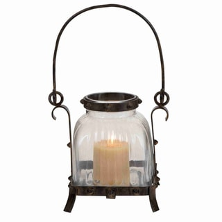 Rustic and Antique Design Metal Glass Lantern
