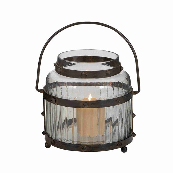 Glass Lantern with Metal Handle