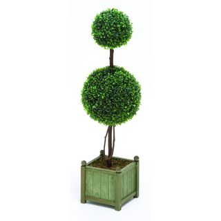 Contemporary Green Polyester Topiary with Boxwood