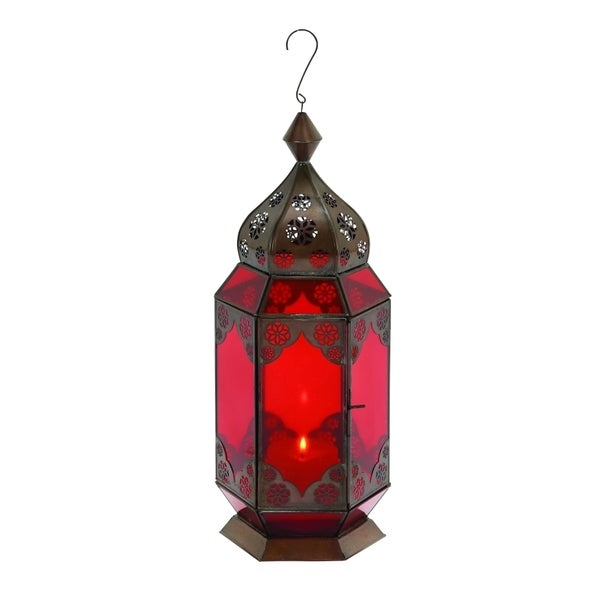 Traditional Metal Lantern with Red Glass