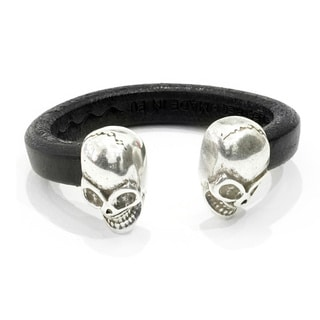 Ameli Boneface Silver Skull/Black Leather Bracelet