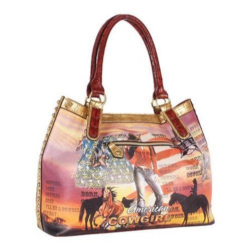 Women's Nicole Lee Cowgirl Flag Print Hobo Bag Cowgirl Flag Brown