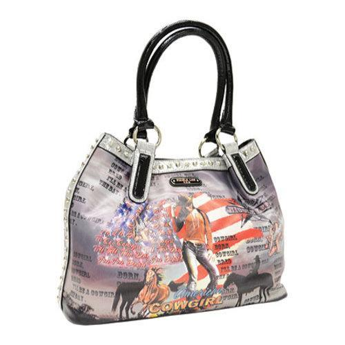 Women's Nicole Lee Cowgirl Flag Print Hobo Bag Cowgirl Flag Silver