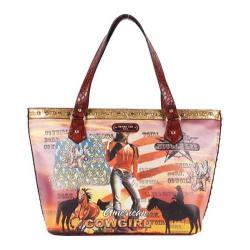 Women's Nicole Lee Cowgirl Flag Print Shoulder Bag Cowgirl Flag Brown