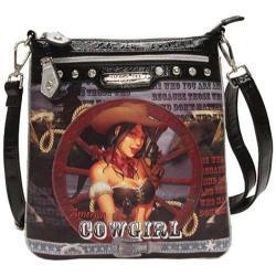 Women's Nicole Lee Cowgirl Wheel Print Messenger Bag Cowgirl Wheel Silver