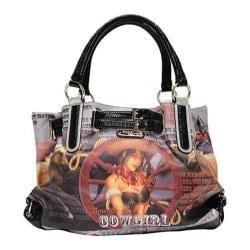 Women's Nicole Lee Cowgirl Wheel Print Shoulder Bag Cowgirl Wheel Silver