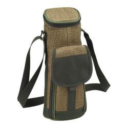 Picnic at Ascot Eco Single Bottle Wine Tote Natural/Forest Green
