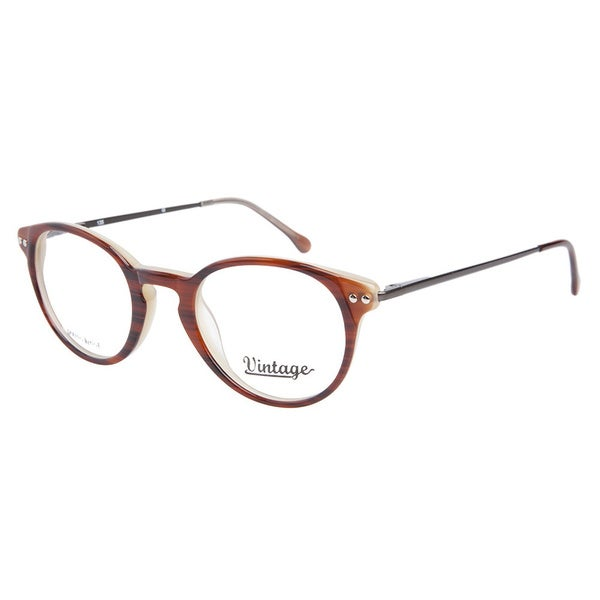 Vintage VN0106 062 Brown Horn Milky Brown Prescription Eyeglasses