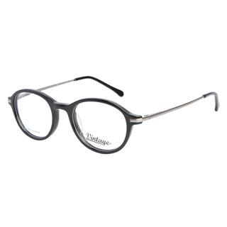 Vintage VN0109 001 Shiny Black Silver Prescription Eyeglasses