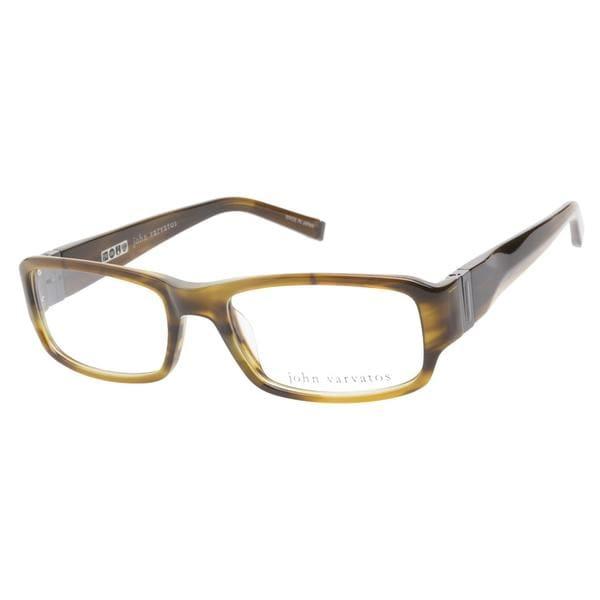 John Varvatos V341 Olive Horn Prescription Eyeglasses