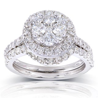 Annello 14k White Gold 1 1/3ct TDW Round Diamond Cluster 2-Ring Bridal Set (H-I, I1-I2)