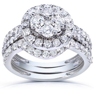 Annello 14k White Gold 1 5/8ct TDW Round Diamond Cluster 3-Ring Bridal Set (H-I, I1-I2)