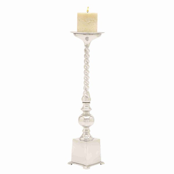 Shiny Silver Finished Aluminium Candle Stand