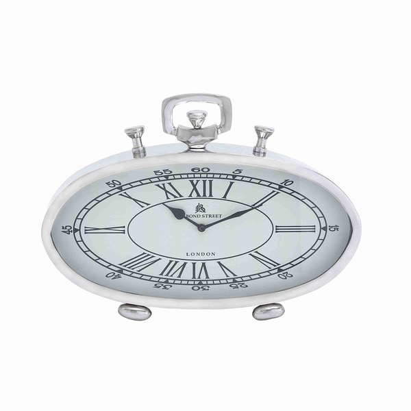 Nickel-plated Roman and Arabic Numerals White Dial Table Clock