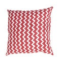 Handmade Red/ White Chevron Cotton 22x22-inch Throw Pillow