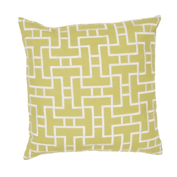 Handmade Lime Green/ White Cotton 20x20-inch Throw Pillow