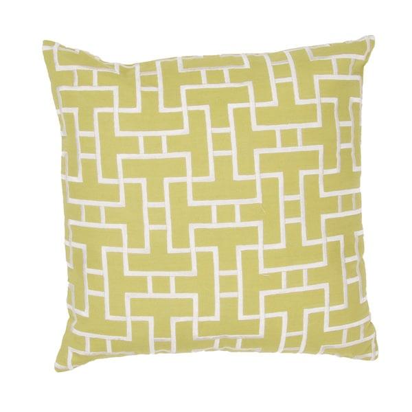 Handmade Lime Green/ White Cotton 20x20-inch Throw Pillow