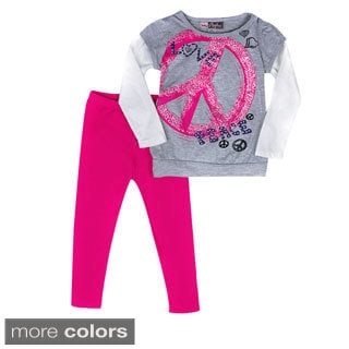 Girls 'Glitter Peace' Long Sleeve Top and Leggings 2-piece Set