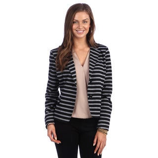 Live A Little Women's Black and Grey Striped Blazer