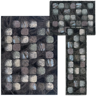 Nourison 'Cobble Stone' Collection Casual Charcoal Rugs (Set of 3)