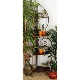 Wood and Metal 3-deck Corner Rack Shelf