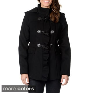 Kensie Women's Ruffled Placket Toggle Coat