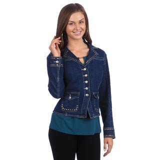 Live A Little Women's Indigo Denim Studded Blazer