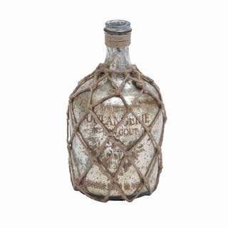 Distressed Silver Glass and Jute Bottle