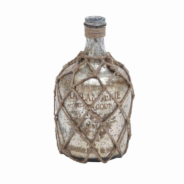 Distressed Silver Glass and Jute Bottle 12195303