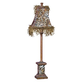 Animal Print Polystone and Metal Buffet Lamp
