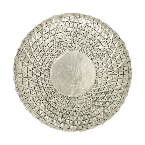 Exclusive 23-inch Off White Metal Wall Round Dcor