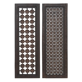 Elegant Two Assorted Wood Wall Panels Sculpture
