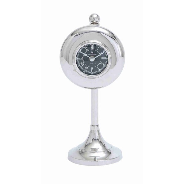 Round Standing Silver Table Clock