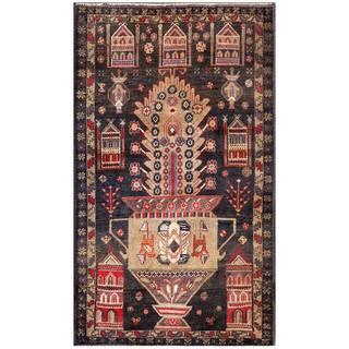 Afghan Hand-knotted Tribal Balouchi Navy/ Gray Wool Rug (2'10 x 4'9)