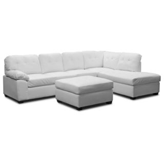 Mario White Bonded Leather Modern Sectional Sofa with Ottoman