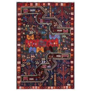 Afghan Hand-knotted Tribal Balouchi Navy/ Red Wool Rug (3'2 x 4'9)