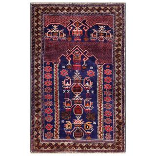 Afghan Hand-knotted Tribal Balouchi Navy/ Pink Wool Rug (3'1 x 4'8)