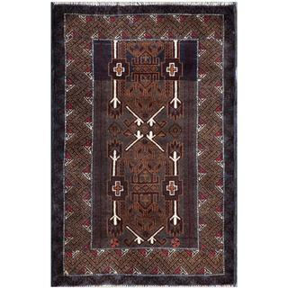 Afghan Hand-knotted Tribal Balouchi Navy/ Red Wool Rug (3' x 4'9)