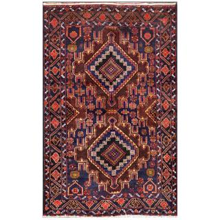 Afghan Hand-knotted Tribal Balouchi 2'10 x 4'6 Navy Wool Area Rug (Afghanistan)