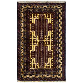 Afghan Hand-knotted Tribal Balouchi Navy/ Purple Wool Rug (2'8 x 4'3)