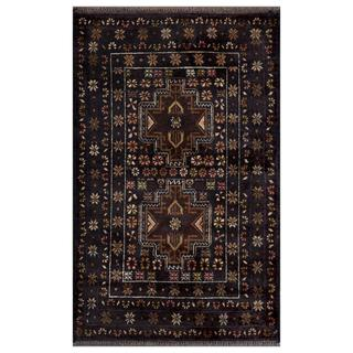 Afghan Hand-knotted Tribal Balouchi Navy/ Black Wool Rug (2'10 x 4'6)