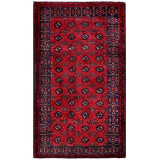 Afghan Hand-knotted Tribal Balouchi Red/ Navy Wool Rug (2'11 x 5'1)