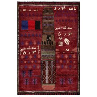 Afghan Hand-knotted Tribal Balouchi Red/ Ivory Wool Rug (3' x 4'6)