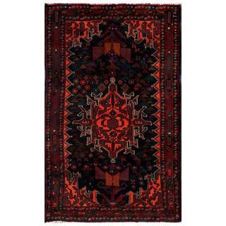 Afghan Hand-knotted Tribal Balouchi Black/ Orange Wool Rug (2'7 x 4'3)