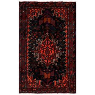 Afghan Hand-knotted Tribal Balouchi Black/ Orange Wool Rug (2'7 x 4'3)