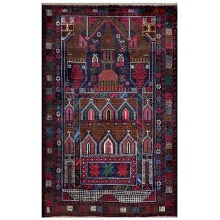 Afghan Hand-knotted Tribal Balouchi Navy/ Pink Wool Rug (2'9 x 4'5)