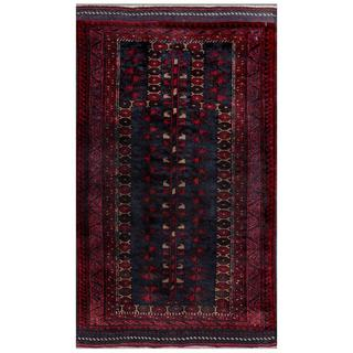 Afghan Hand-knotted Tribal Balouchi Navy/ Pink Wool Rug (2'3 x 4'1)